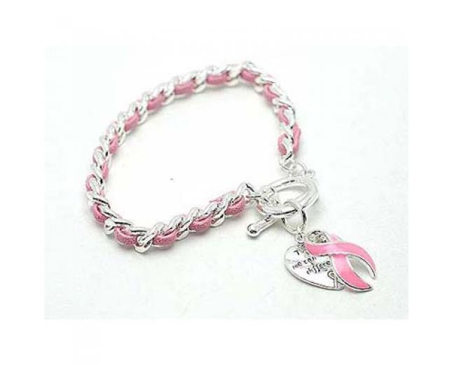 Breast Cancer Awareness Pink Ribbon Toggle Bracelet