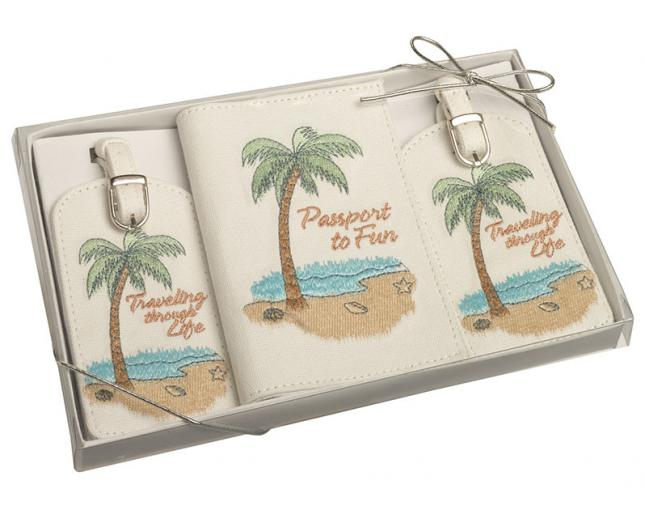 Home Wedding Honeymoon Luggage Tag and Passport Cover Gift Set