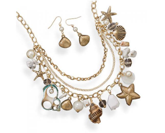 Multi-charm Nautical Seashell Necklace and Earrings ...