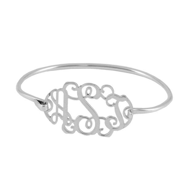 Sterling Silver Filigree Monogram Bangle Bracelet