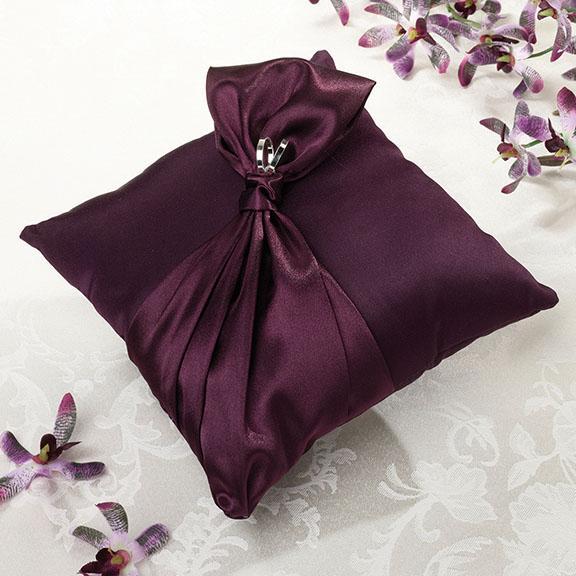 Purple Satin Wedding Ring Bearer Pillow