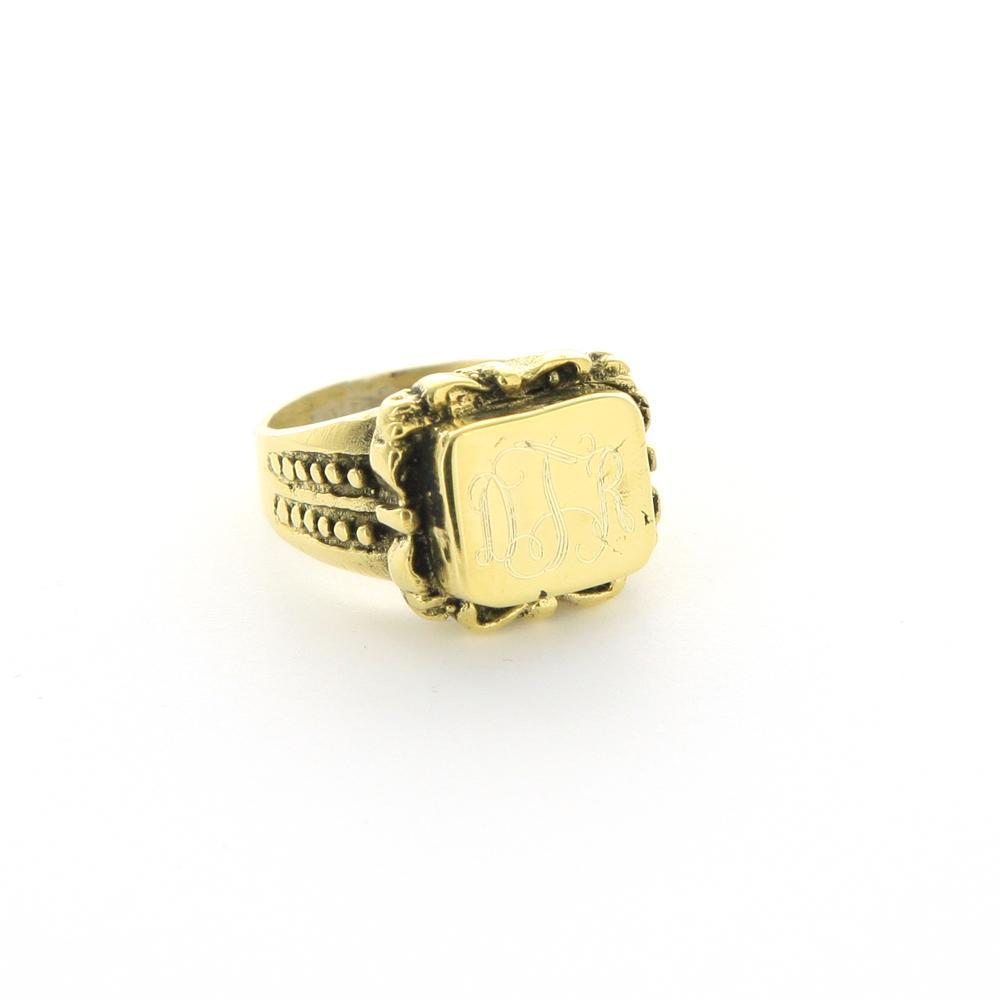 vintage gold monogrammed ring