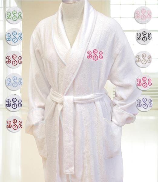 white terry cloth spa monogrammed robe. Black Bedroom Furniture Sets. Home Design Ideas
