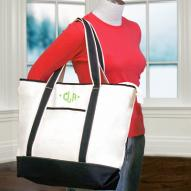 Large Black and White Monogrammed Tote Bag