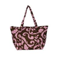 Pink and Brown Monogrammed Tote Bag