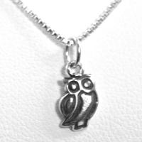 Modern Sterling Silver Owl Necklace
