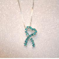Crystal Heart Ovarian Cancer Awareness Teal Ribbon Necklace