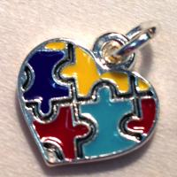 Silver Autism Awareness Enamel Heart Charm