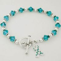 Ovarian Cancer Awareness Swarovski Crystal Beaded Bracelet