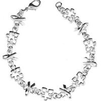 Silver Autism Awareness Ribbon and Puzzle Piece Link Bracelet