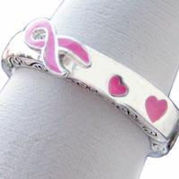 Breast Cancer Awareness Pink Ribbon Stretch Ring