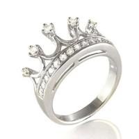 CZ Sterling Silver Five Point Crown Ring