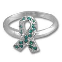 Teal Ribbon Swarovski Crystal Sterling Silver Ring