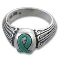 Teal Ribbon Ovarian Cancer Awareness Enamel Sterling Silver Ring