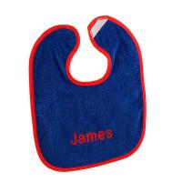 Royal Blue and Red Personalized Baby Bib