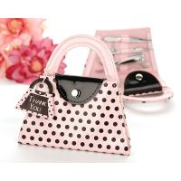 Pink and Black Polka Dot Purse Manicure Set