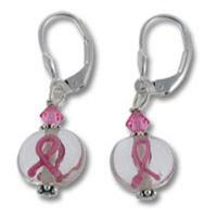 Lampwork Beaded Breast Cancer Awareness Pink Ribbon Earrings