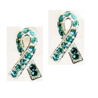 Teal Ribbon Ovarian Cancer Awareness CZ Earrings