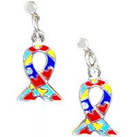 Autism Awareness Ribbon Dangle Earrings