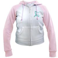 Ovarian Cancer Awareness Teal Ribbon Pink Raglan Hoodie