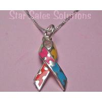 Autism Awareness Ribbon Enamel Pendant Necklace