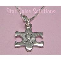 Autism Awareness Ribbon Puzzle Charm Necklace