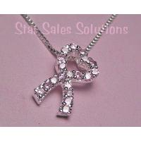 Breast Cancer Awareness Pink Heart Crystal Ribbon Necklace