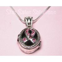 Breast Cancer Awareness Crystal Prayer Box Necklace