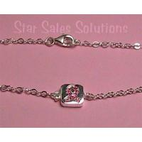 Breast Cancer Awareness Sterling Silver Crystal Bracelet