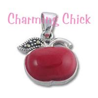 Sterling Silver Apple Red Enamel and Marcasite Pendant