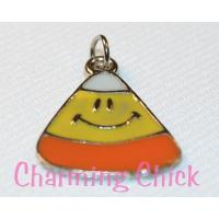 Candy Corn Enamel Charm for Halloween or Fall