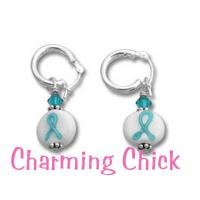 Teal Ribbon Ovarian Cancer Awareness Lampwork Beaded Earrings