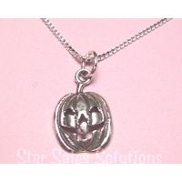 Halloween Jack O'Lantern Charm Sterling Silver Necklace