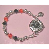 Halloween Jack-O'Lantern Charm Crystal Beaded Watch