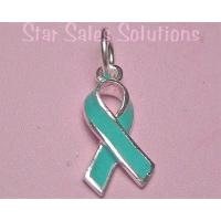 Teal Ribbon Ovarian Cancer Awareness Enamel Charm