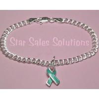 Teal Ribbon Ovarian Cancer Awareness Enamel Charm Bracelet 7""