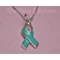 Teal Ribbon Ovarian Cancer Awareness Enamel Necklace