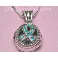 Teal Awareness Ribbon Crystal Prayer Box Necklace