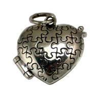 Sterling Silver Heart Shaped Autism Awareness Prayer Box