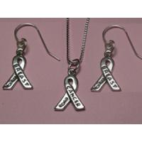 Breast Cancer Awareness Ribbon Necklace &amp; Earrings Set