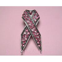Breast Cancer Awareness Ribbon Crystal Pin Brooch