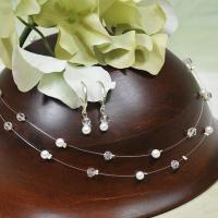 White Crystal and Pearl Illusion Necklace and Earrings Set