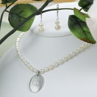 Personalized Pearl Necklace and Earrings Jewelry Set