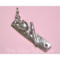 Ruler with Apple & Pencil School / Teacher Sterling Silver Charm