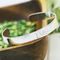Personalized Engraved Thin Silver Bangle Bracelet